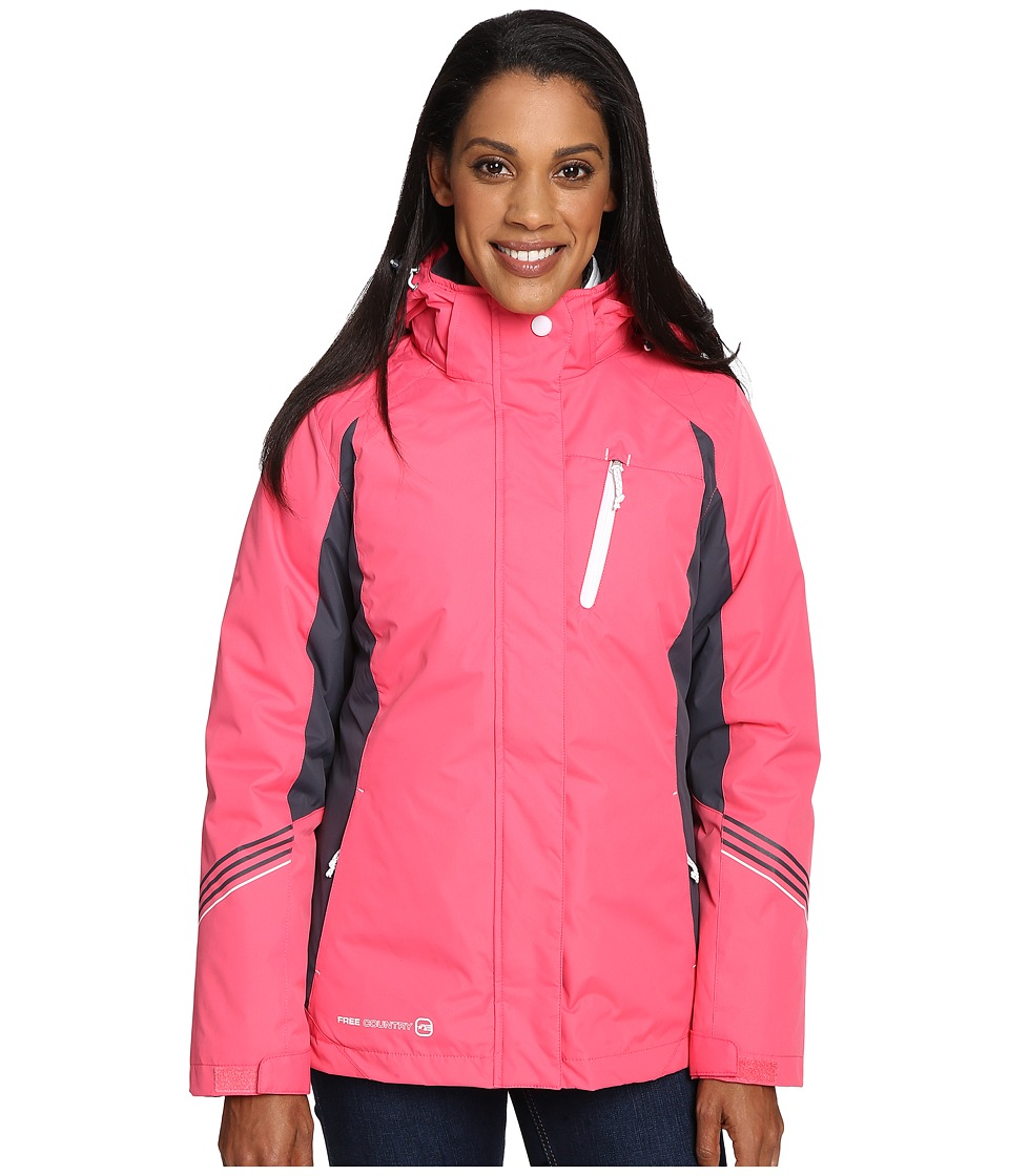 Free Country - Radiance 3-in-1 System Jacket with Detachable Hood (Coral Blush/Grey Slate/White) Women's Coat
