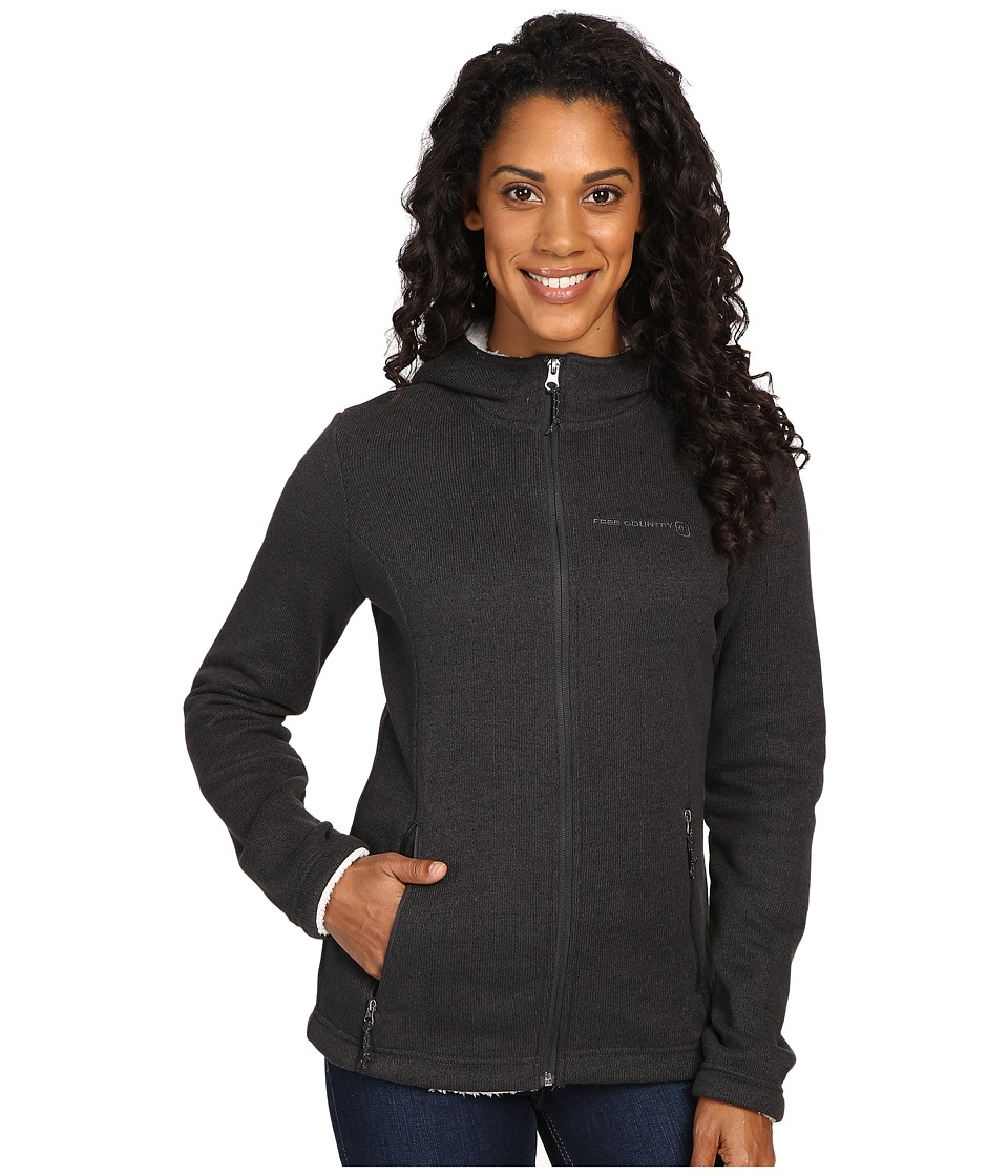 Free Country - Attached Hooded Sweater Fleece Jacket with Sherpa Trim (Black) Women's Coat