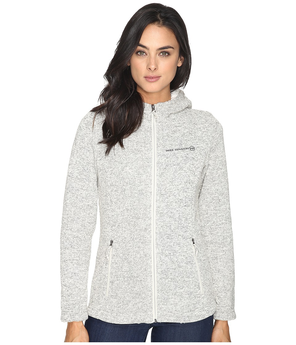 Free Country - Attached Hooded Sweater Fleece Jacket with Sherpa Trim (Cream) Women's Coat