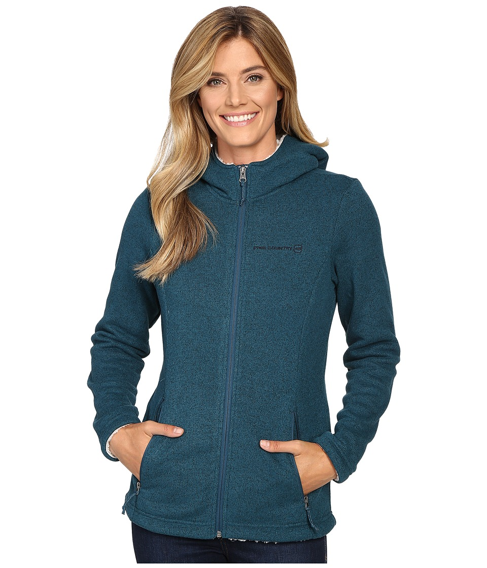 Free Country - Attached Hooded Sweater Fleece Jacket with Sherpa Trim (Teal) Women's Coat