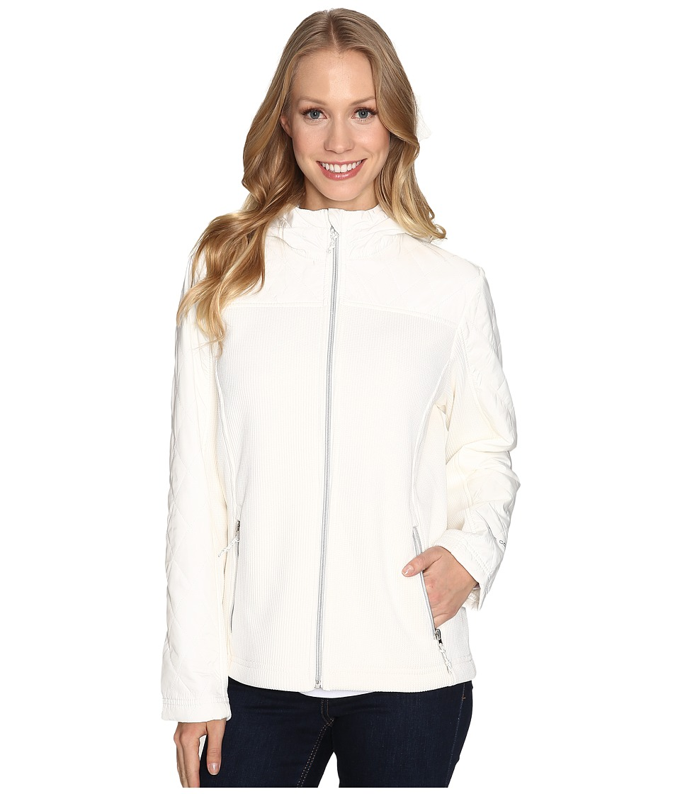 Free Country - Attached Hooded Cable Knit Sweater Jacket with Fleece Backing (Whisper White) Women's Coat