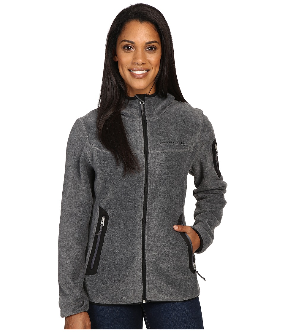 Free Country - Lazer Cut Pockets Fleece Jacket (Charcoal) Women's Coat