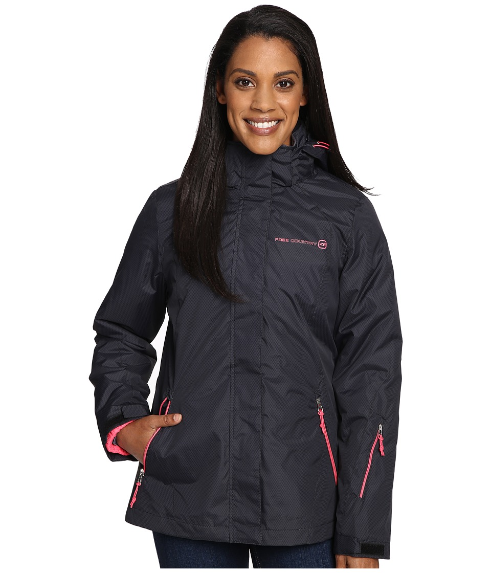 Free Country - Radiance Print 3-in-1 System Jacket with Detachable Hood (Black Combo/Coral Blush) Women's Coat