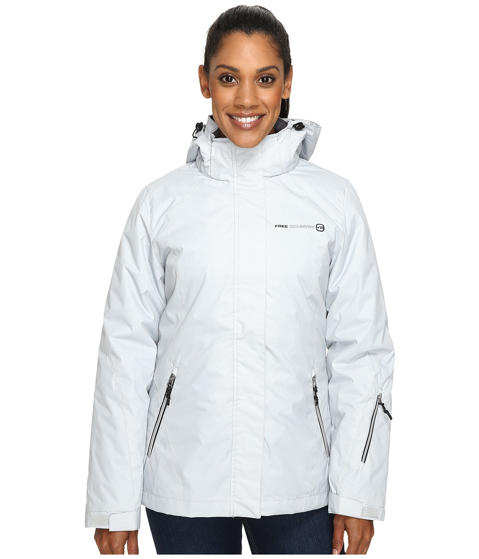 Free Country - Radiance Print 3-in-1 System Jacket with Detachable Hood (Ice Grey Combo/Black) Women's Coat