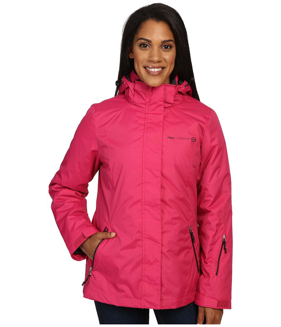 Free Country - Radiance Print 3-in-1 System Jacket with Detachable Hood (Crimson Rose Combo/Black) Women's Coat