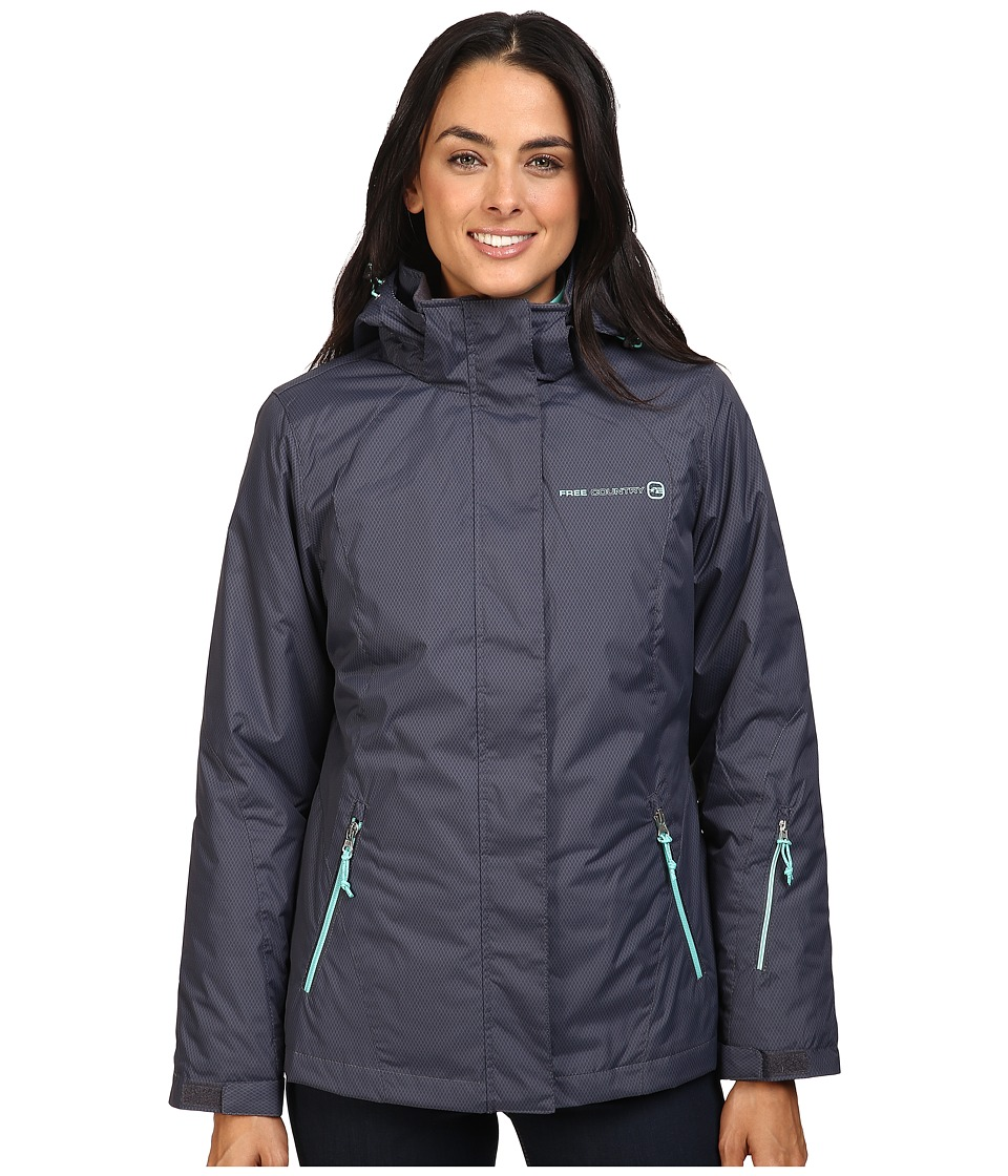 Free Country - Radiance Print 3-in-1 System Jacket with Detachable Hood (Grey Slate Combo/Pearmint) Women's Coat