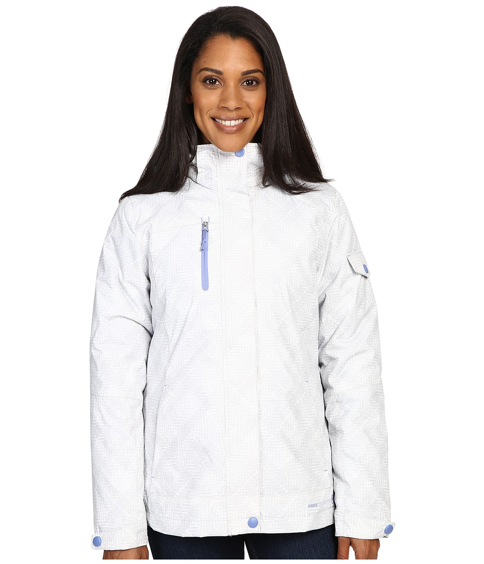 Free Country - Printed Radiance 3-in-1 System Jacket with Detachable Hood (White Combo/Blue Iris) Women's Coat