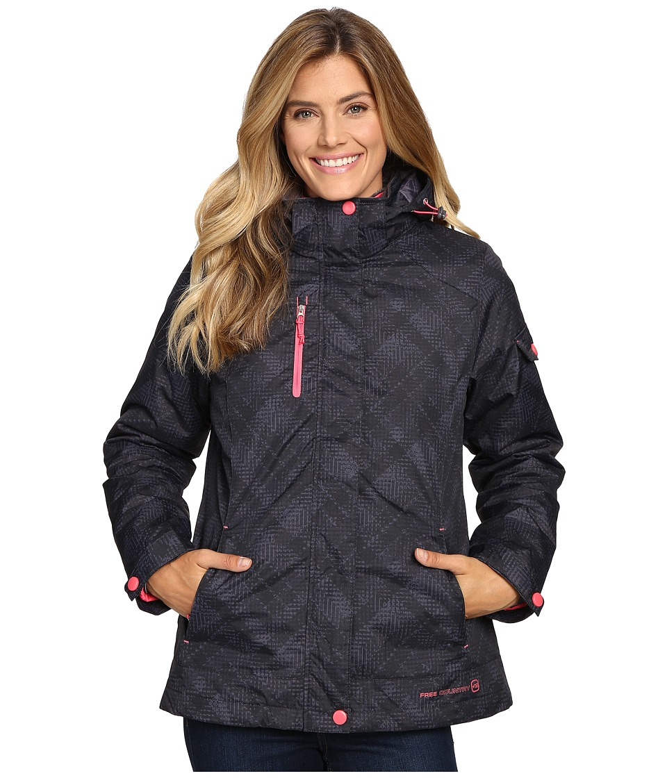 Free Country - Printed Radiance 3-in-1 System Jacket with Detachable Hood (Black Combo/Coral Blush) Women's Coat