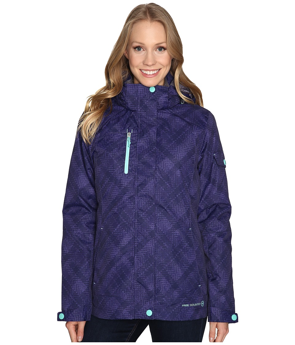 Free Country - Printed Radiance 3-in-1 System Jacket with Detachable Hood (Purple Edge Combo/Spearmint) Women's Coat