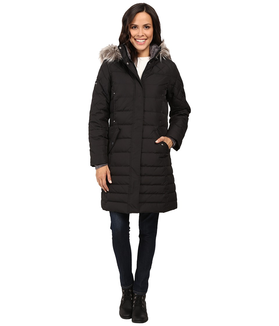 Free Country - Poly Air Touch Down Jacket with Faux Fur Trip at Hood (Black) Women's Coat