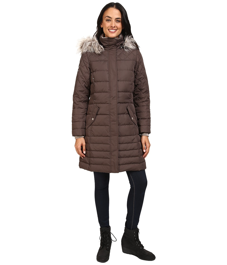 Free Country - Poly Air Touch Down Jacket with Faux Fur Trip at Hood (Chocolate) Women's Coat