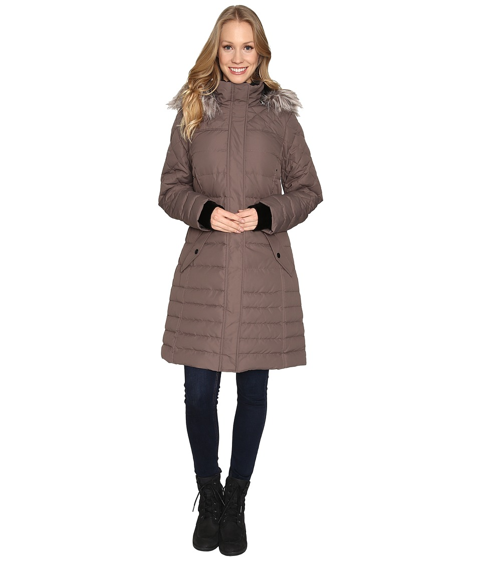 Free Country - Poly Air Touch Down Jacket with Faux Fur Trip at Hood (Fossil) Women's Coat