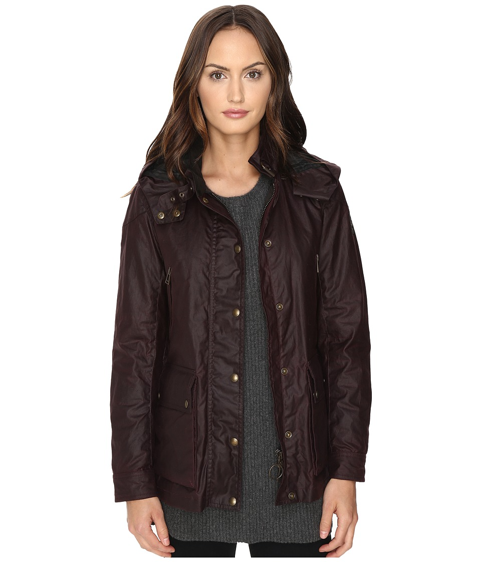 BELSTAFF - New Tourmaster Signature 6 oz. Wax Cotton Coat (Rosewood) Women's Coat