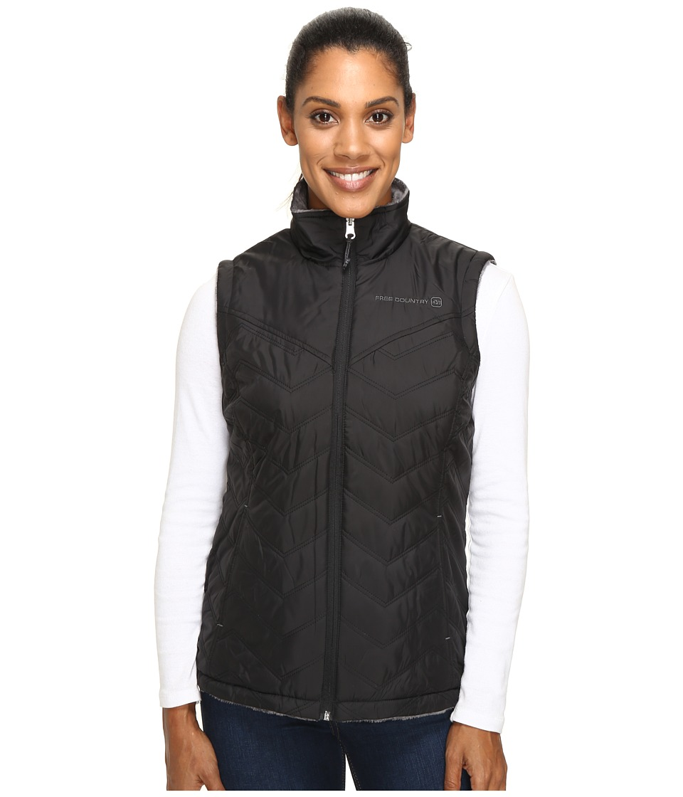 Free Country - Cire Polyfill Vest Reversible to Butterpile (Black/Mineral Grey) Women's Vest