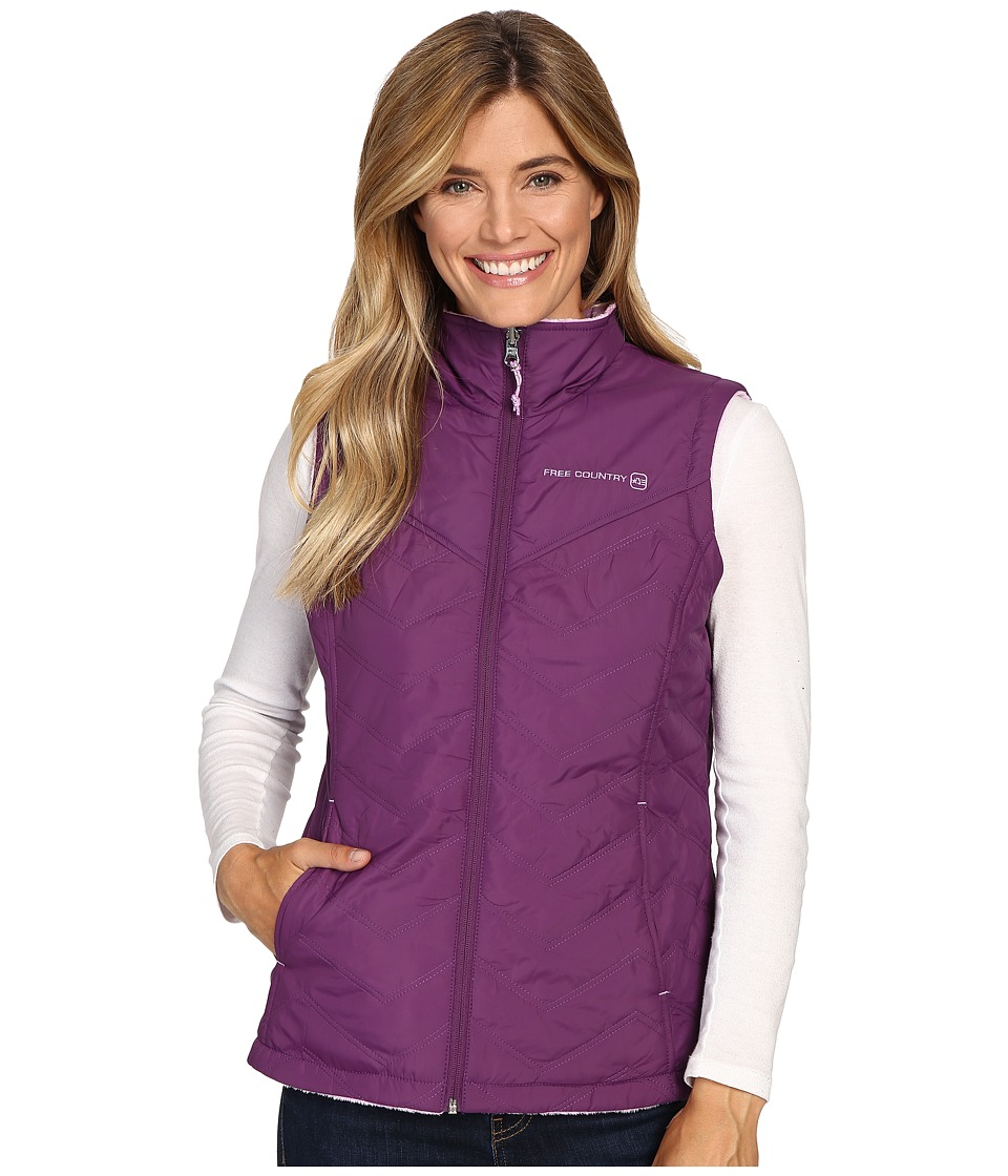 Free Country - Cire Polyfill Vest Reversible to Butterpile (Plum Wine/Lilac Winter) Women's Vest