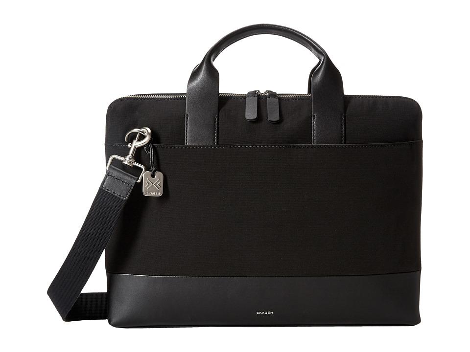 Skagen - Peder Slim Briefcase (Black) Briefcase Bags