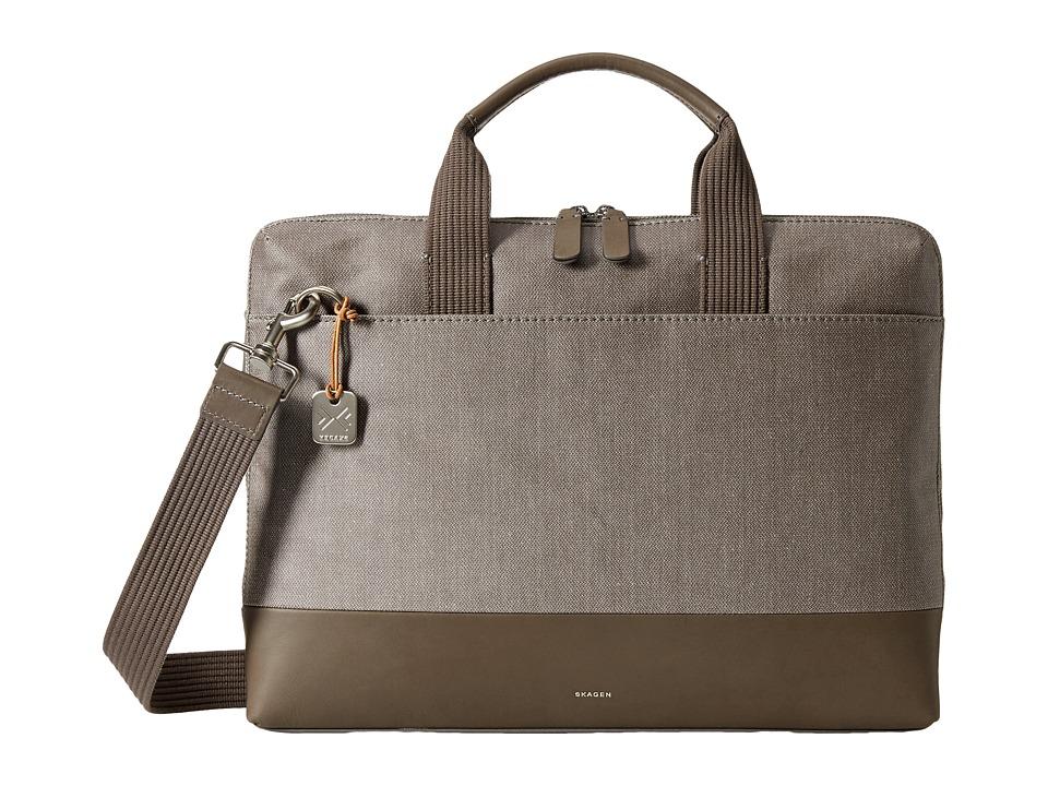 Skagen - Peder Slim Briefcase (Dark Heather Gray) Briefcase Bags