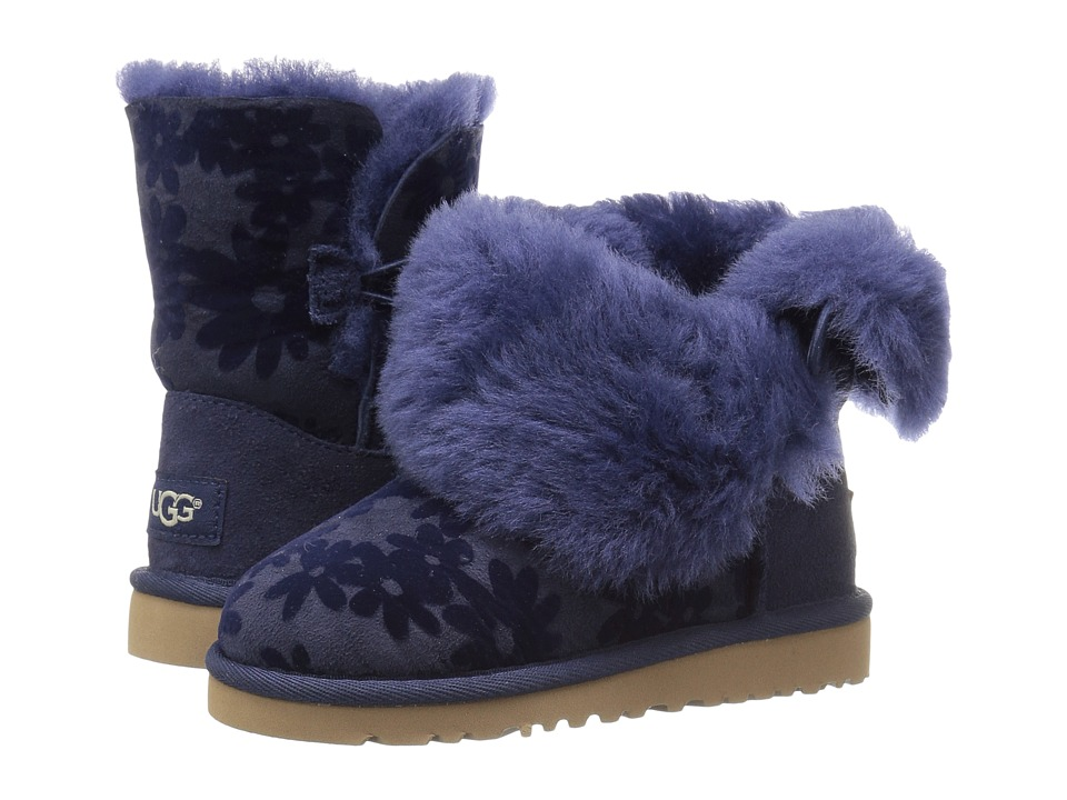 UGG Kids - Bailey Button Flowers (Toddler/Little Kid) (Navy) Girl's Shoes