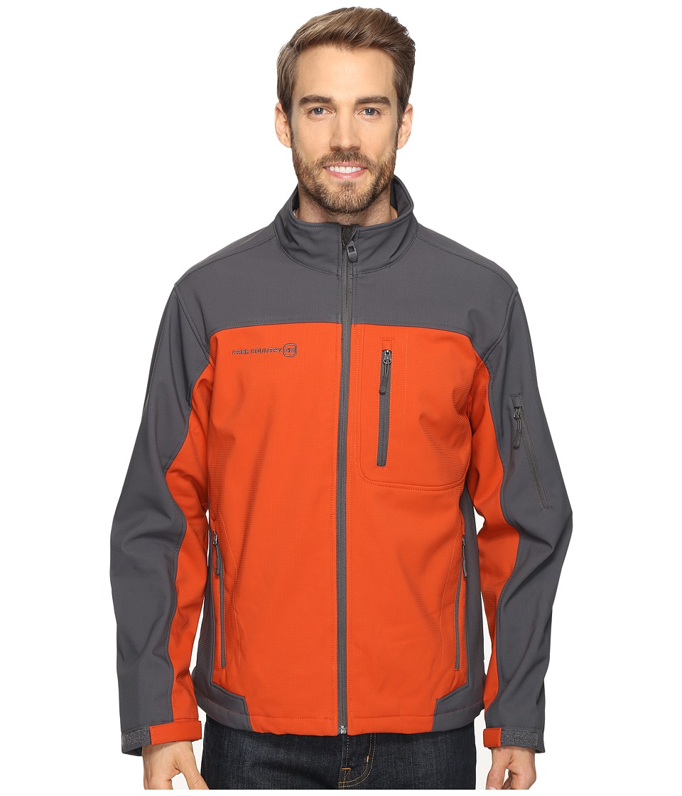 Free Country - Softshell Color Block (Harris Orange/Charcoal) Men's Coat