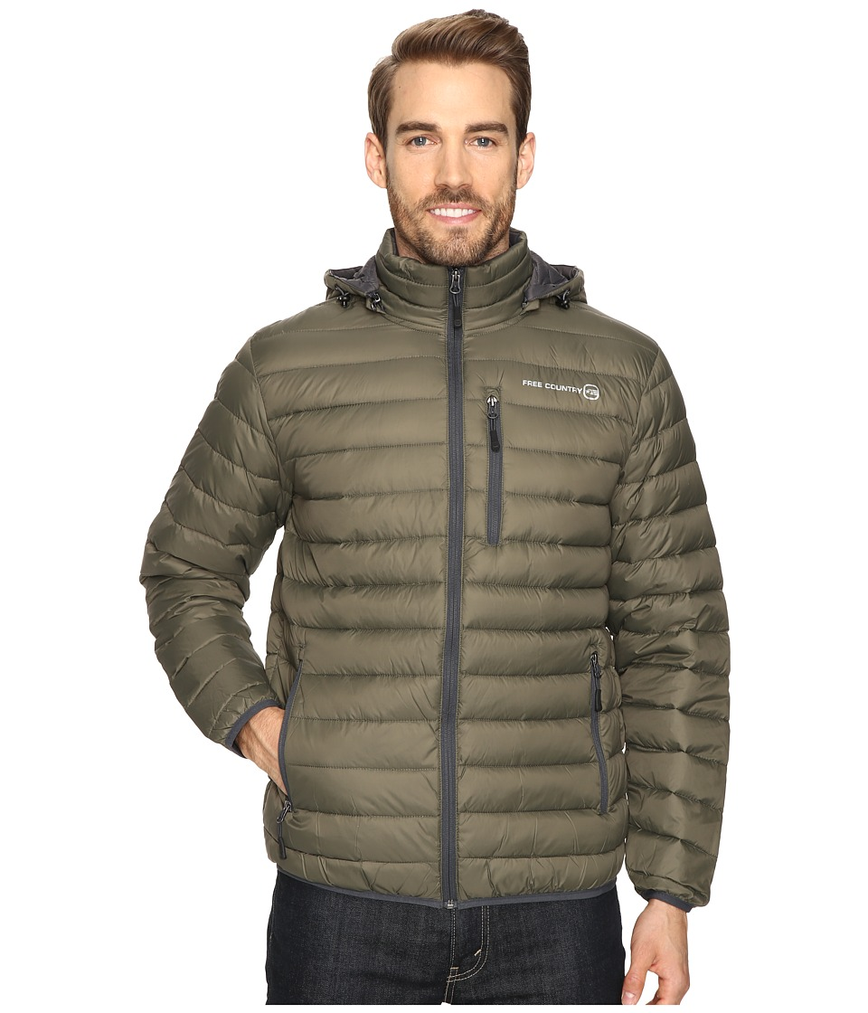Free Country - Down Puffer Packable (Olive) Men's Coat