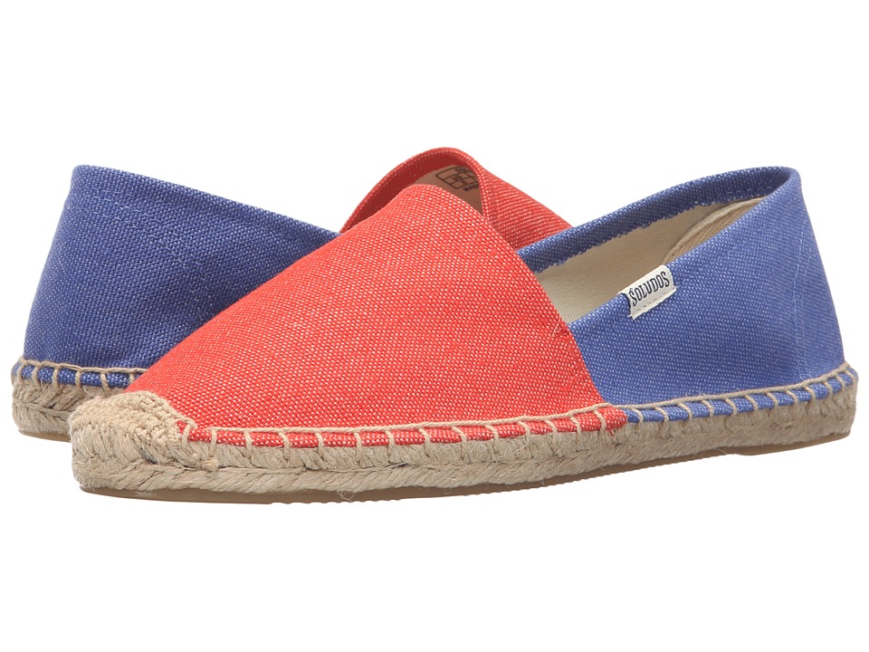 Soludos Original Color Block (Poppy Red/Marina Blue Cotton Canvas) Women
