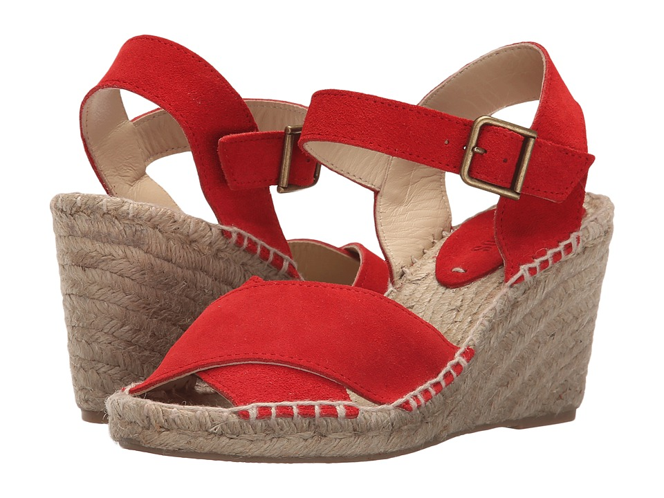 Soludos Crisscross Wedge (Bright Red Suede) Women