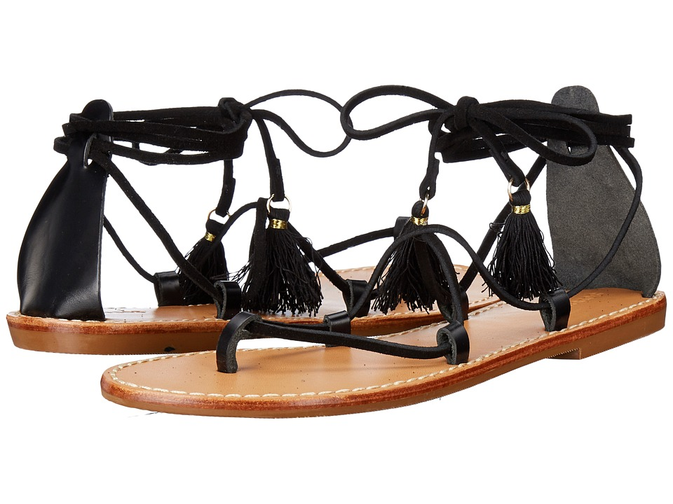 Soludos Gladiator Lace-Up Sandal (Black Leather) Women
