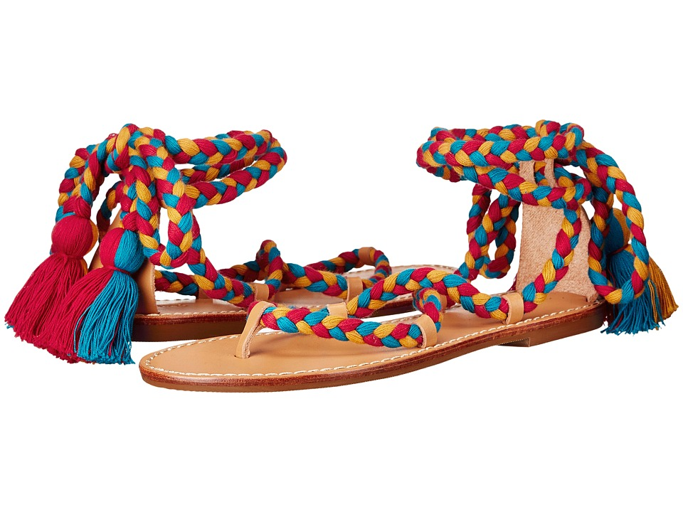 Soludos - Gladiator Lace-Up Sandal (Red/Teal/Gold Cotton Laces On Leather Sole) Women's Sandals