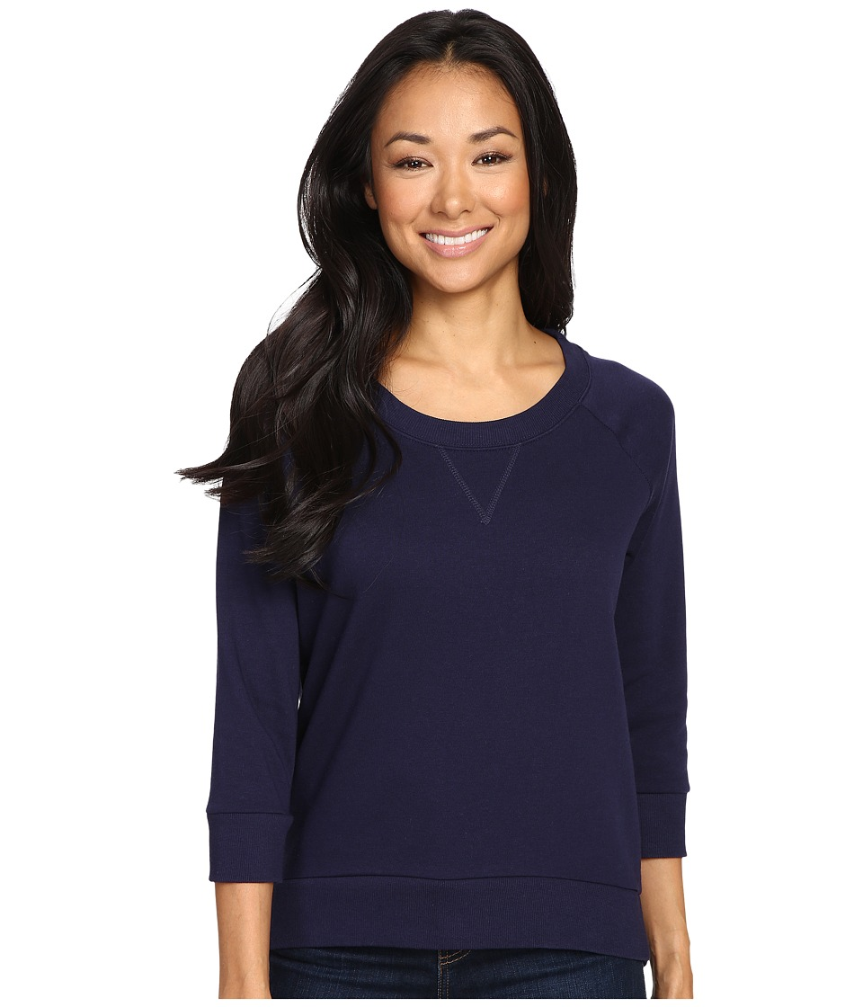 Alternative - Modal Fleece Semi-Pro 3/4 Crew Neck (Midnight) Women's Clothing