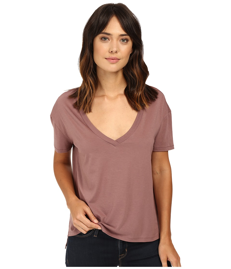 Alternative - Organic Pima Boxy V-Neck (Vintage Rose) Women's Clothing