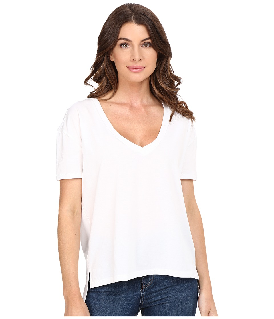 Alternative - Organic Pima Boxy V-Neck (White) Women's Clothing