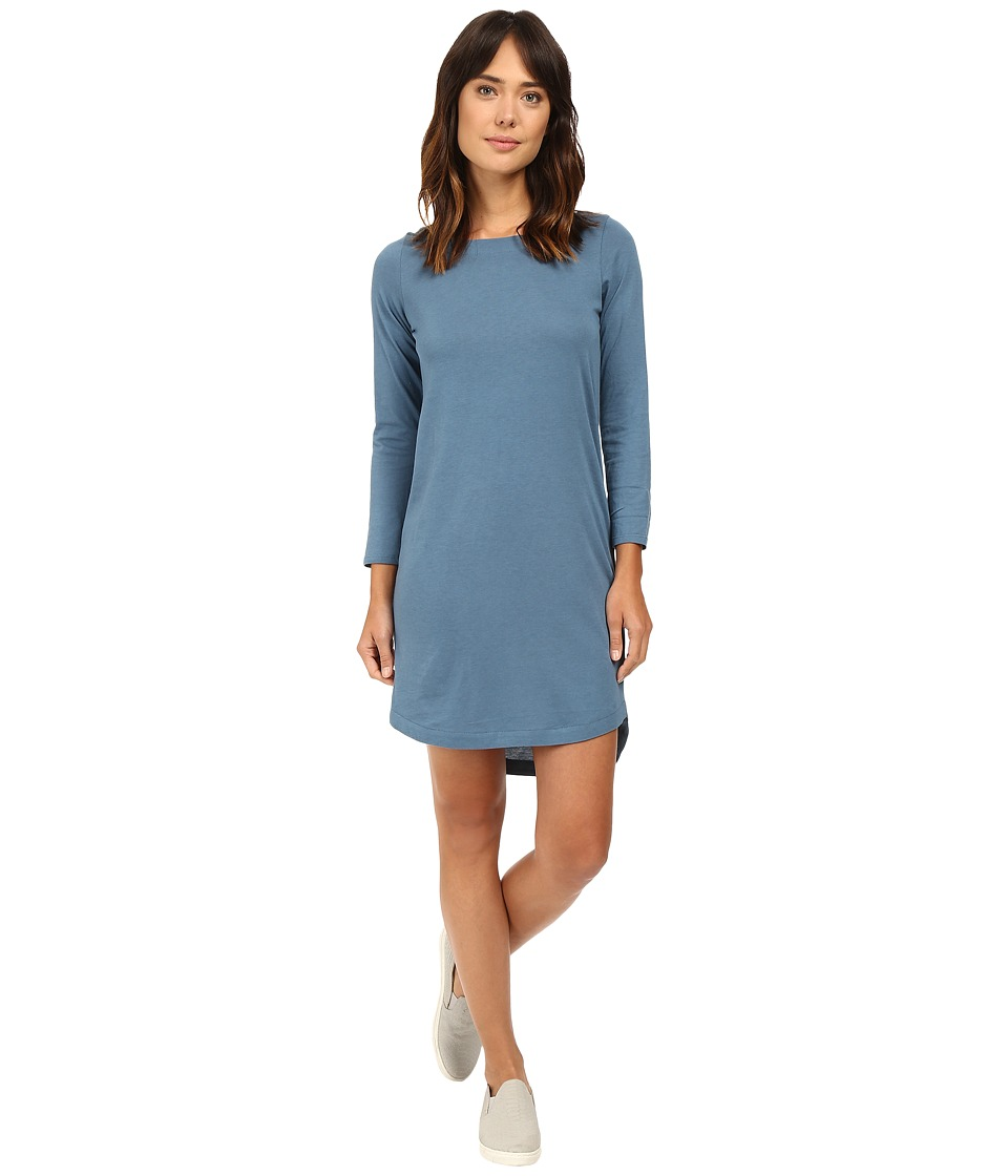 Alternative - East Side Long Sleeve Cotton Modal Dress (Green Cast Indigo) Women's Dress