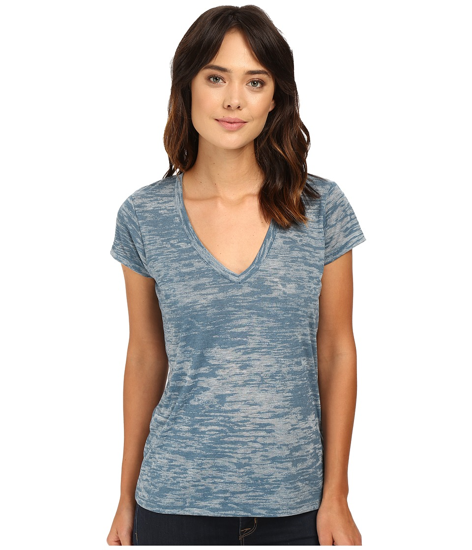 Alternative - Melange Burnout Jersey Slinky V-Neck (Green Cast Indigo) Women's Clothing