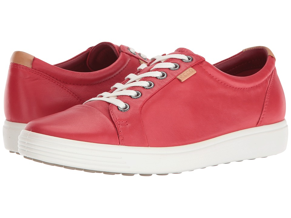ECCO - Soft VII Sneaker (Tomato Cow Leather/Cow Nubuck) Women's Lace up casual Shoes