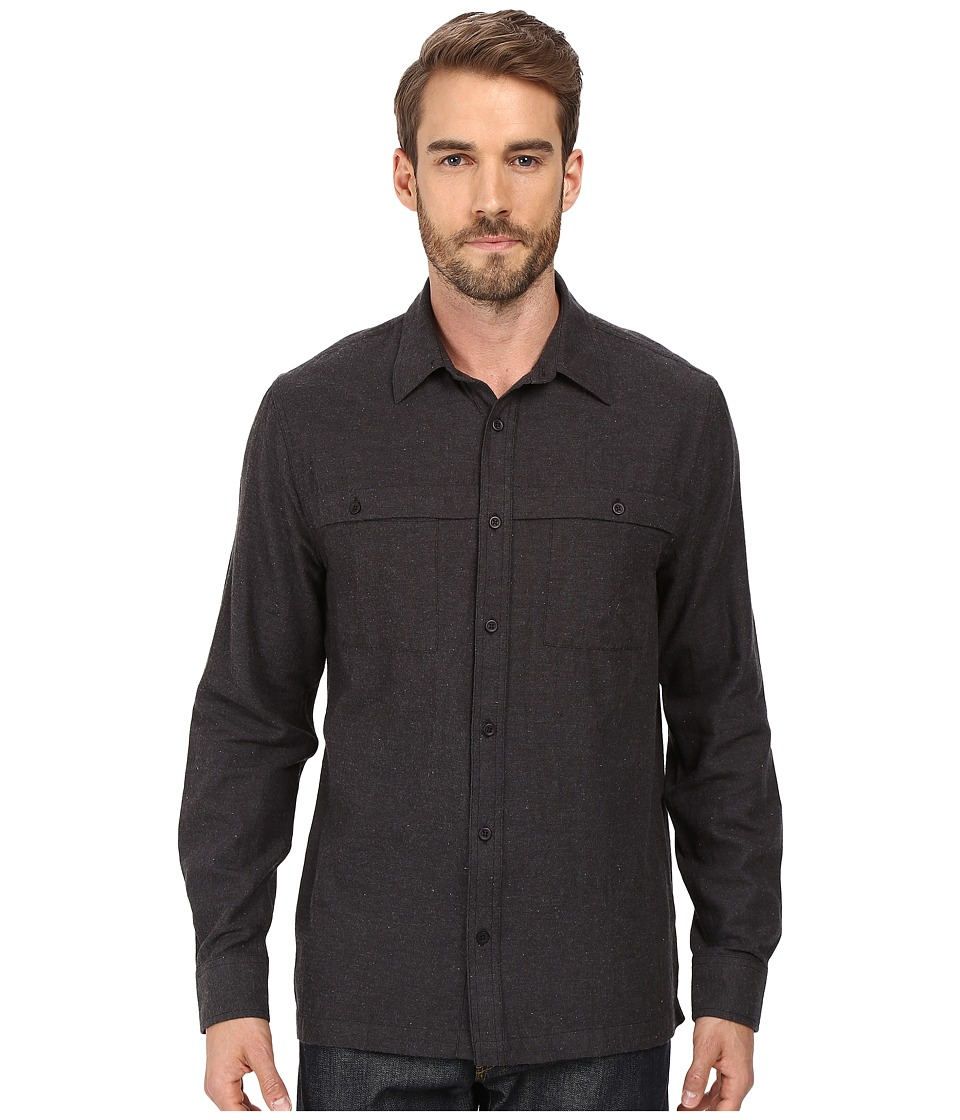 Threads 4 Thought - Long Sleeve Chambray Overshirt Workshirt (Black) Men's Clothing