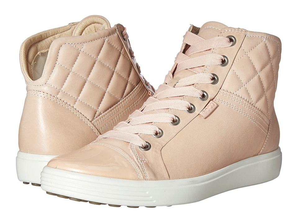 ECCO - Soft 7 Quilted High Top (Rose Dust/Rose Dust) Women's Lace up casual Shoes