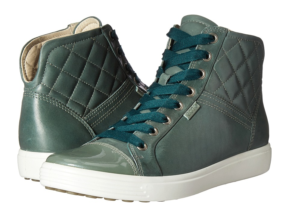 ECCO - Soft 7 Quilted High Top (Frosty Green/Frosty Green) Women's Lace up casual Shoes