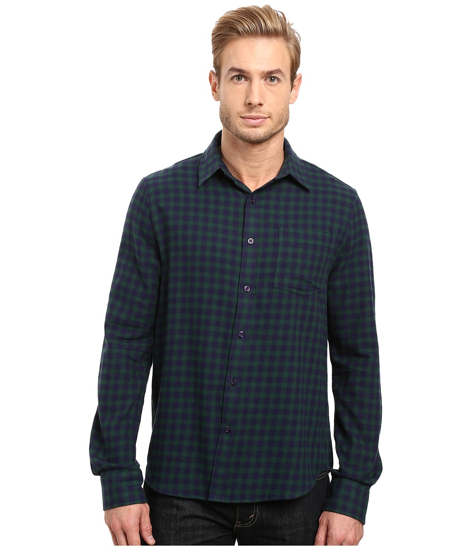 Threads 4 Thought - Justin Flannel Plaid Long Sleeve Woven (Blue/Green) Men's Clothing