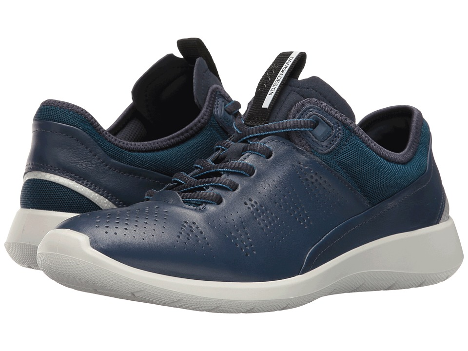 ECCO - Soft 5 Sneaker (True Navy/Poseidon/Black Cow Leather/Textile) Women's Lace up casual Shoes