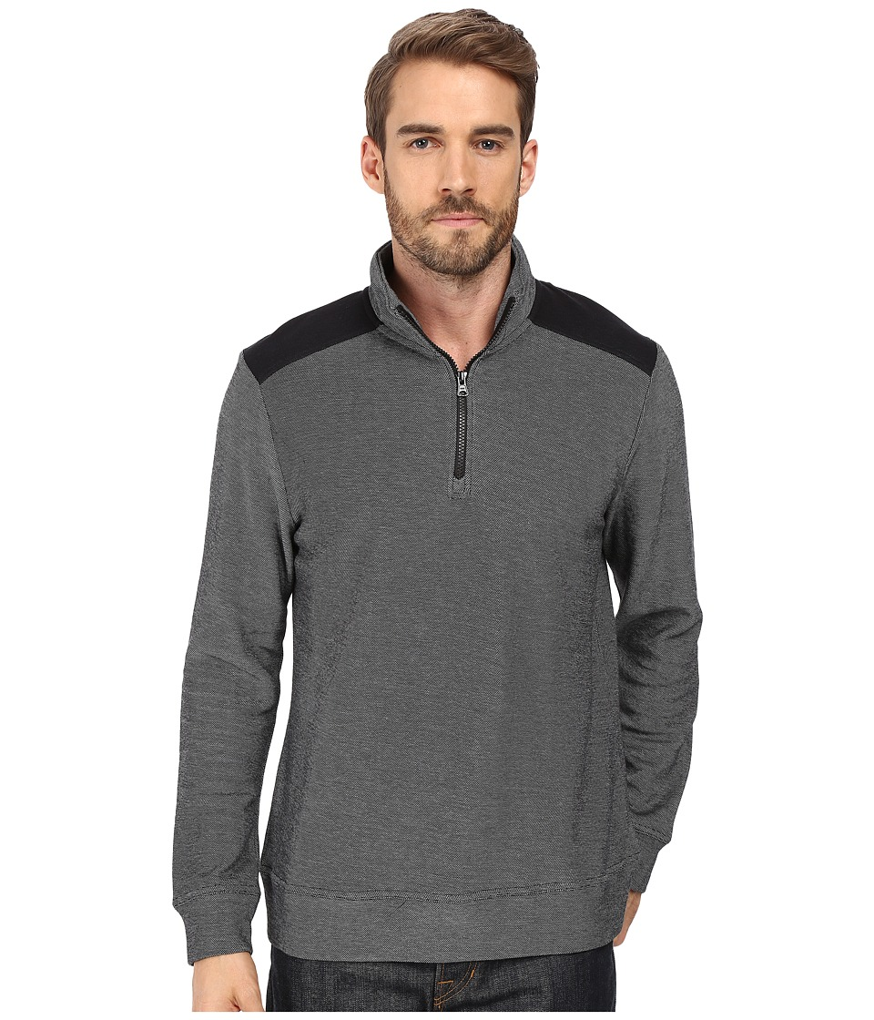 Threads 4 Thought - Adrian 1/2 Zip Mock Neck (Black) Men's T Shirt