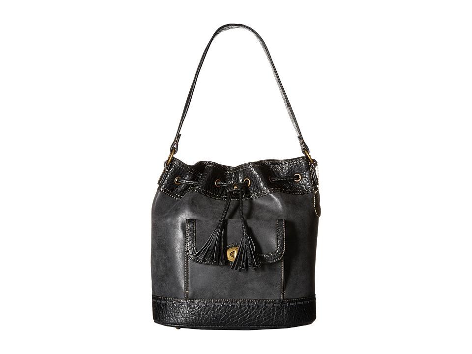American West - Guns And Roses Drawstring Bucket Bag (Charcoal) Drawstring Handbags