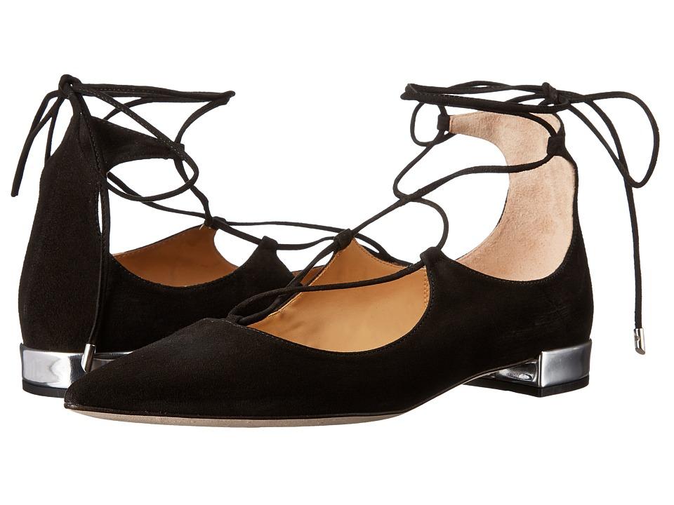 Massimo Matteo - Lace-Up Flat (Black Suede) Women's Flat Shoes