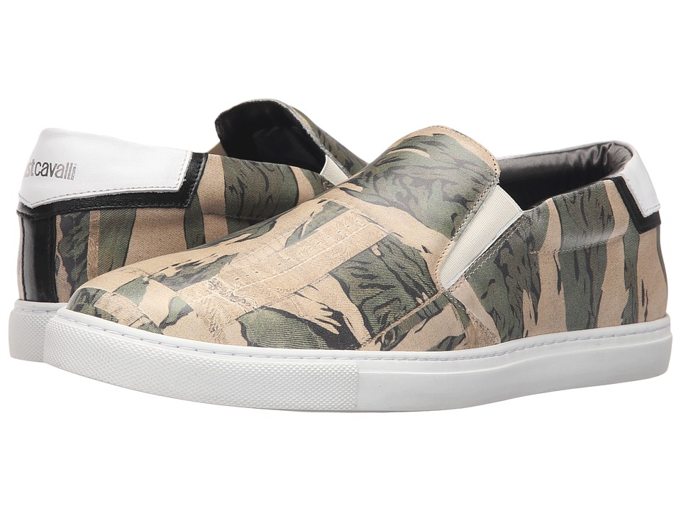 Just Cavalli - Camowork Printed Calf Leather Slip-On (Nut Variant) Men's Shoes