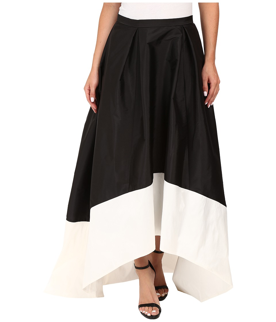 Adrianna Papell - High-Low Color Block Taffeta Skirt (Black/Ivory) Women's Skirt