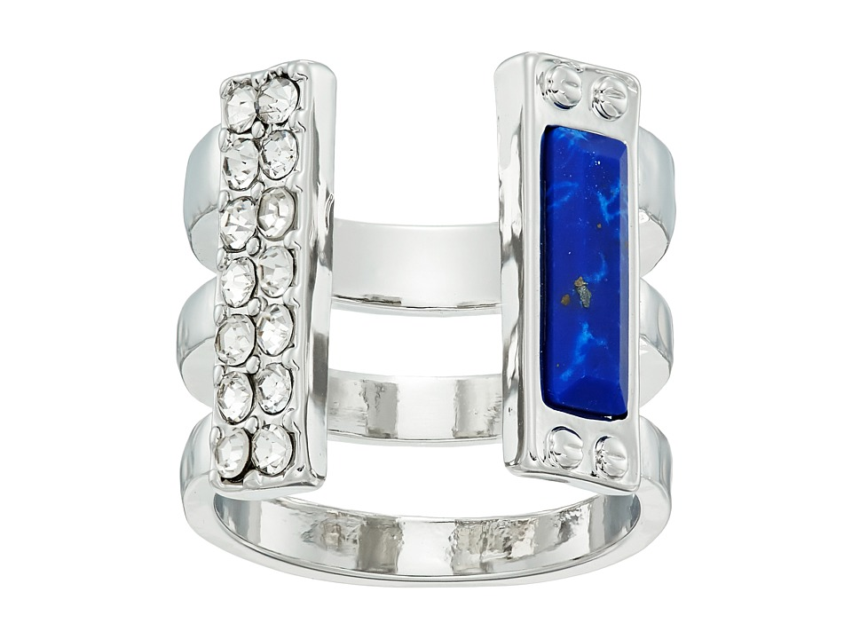 GUESS - Look of 3 Band Open Front Ring (Silver/Crystal/Lapis) Ring