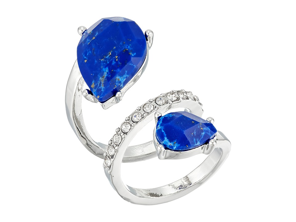 GUESS - Double Pear Shape Stone Bypass Ring (Silver/Crystal/Lapis) Ring
