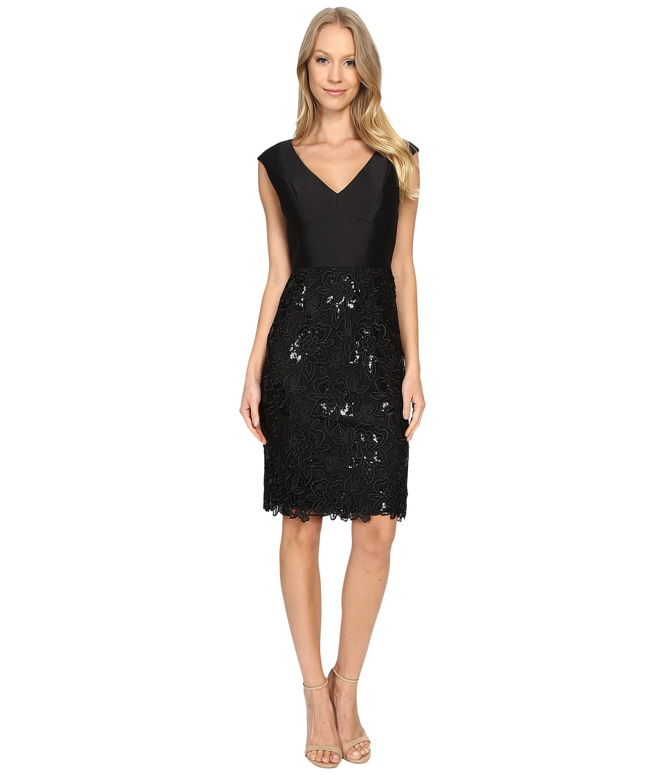 Adrianna Papell - V-Neck Arcadia Top Lace Skirt (Black) Women's Clothing