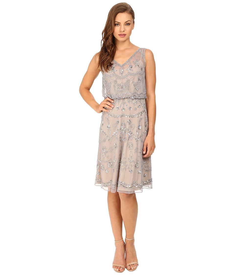 Adrianna Papell - Sleeveless Beaded Blouson Cocktail Dress (Silver/Grey) Women's Dress