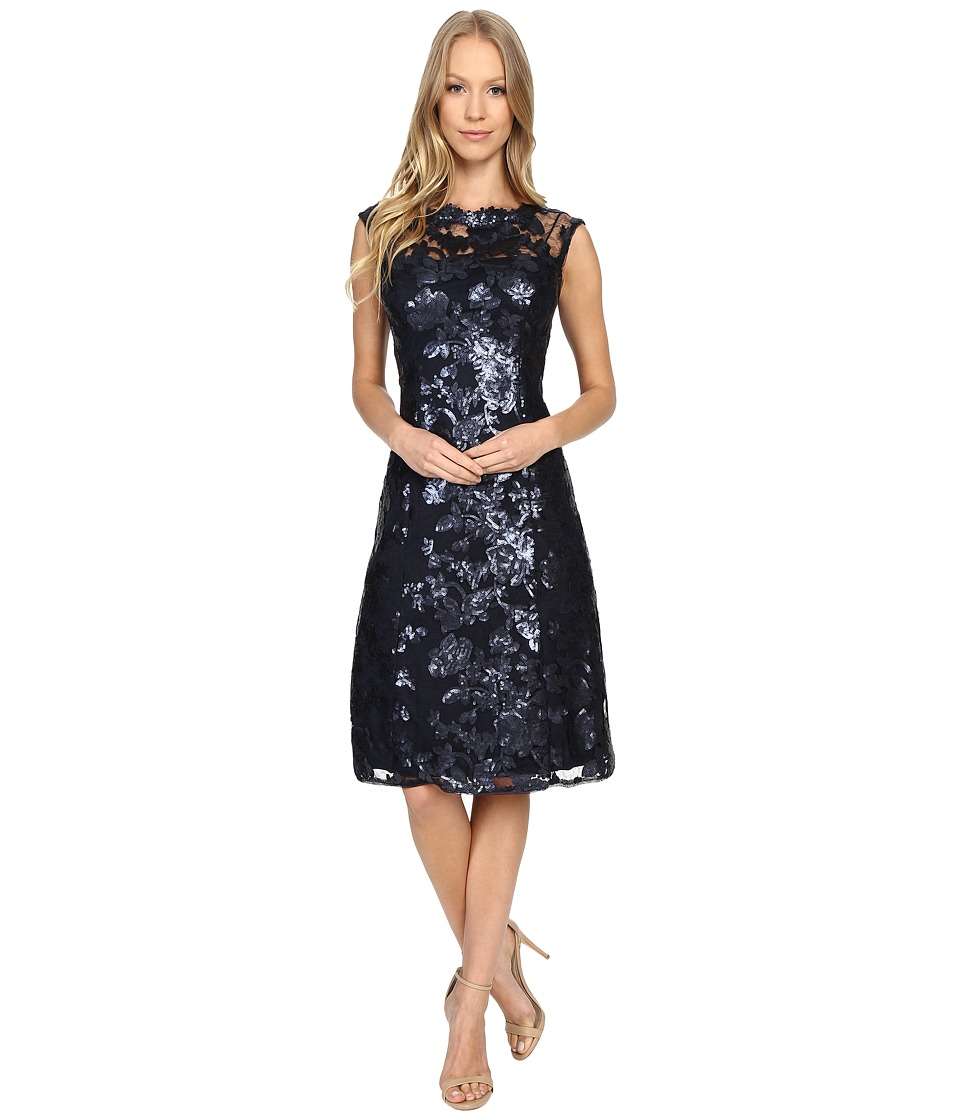 Adrianna Papell - Extended Cap Sleeve Fit Flare Dress (Ink) Women's Dress