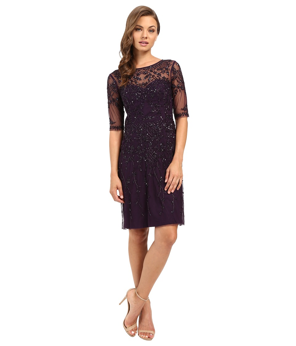 Adrianna Papell 3/4 Sleeve Fully Beaded Cocktail Dress (Amethyst) Women